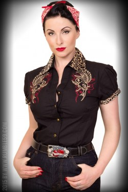 Chemise rockabilly hirondelle leopard