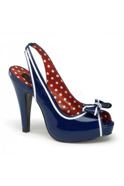 Chaussure vinyle bleu pin up couture
