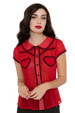 Chemise rouge poches coeur