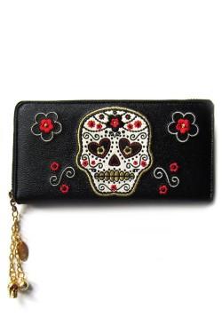 Portefeuille tete de mort mexicaine